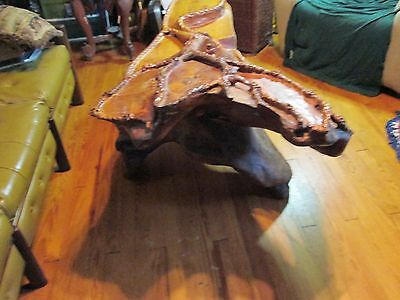 Rare ANTIQUE CHINESE CEREMONIAL GONG FU TEA TABLE CARVED WOOD CAMPHOR ROOT 9