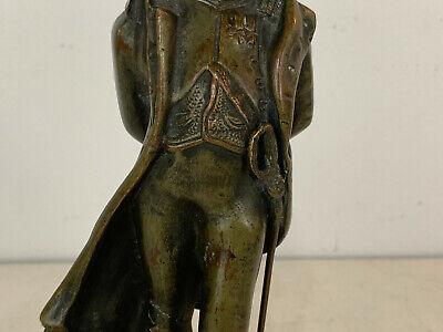 Antiguo 19th Siglo Bronce Napoleon Figura Estatua sobre Rojo Mármol Base 7