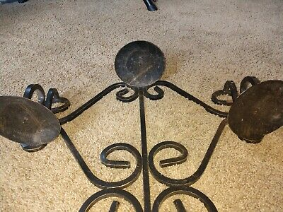 Vintage Gothic Medieval Wrought Iron Triple  Arm Candelabra Wall Sconce Fixture 4