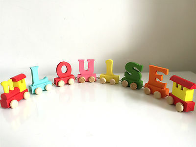 Baby Christening Gifts Wooden Colour train letters for Personalised name train 7