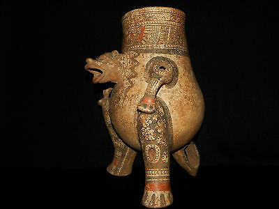 Pre-Columbian Jaguar Effigy Vessel, Large, Rare, Nicoya, Authentic 6
