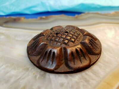 "Hand Carved Wooden Button, Flower Pattern,  About  1 12/16"" Wide 2"