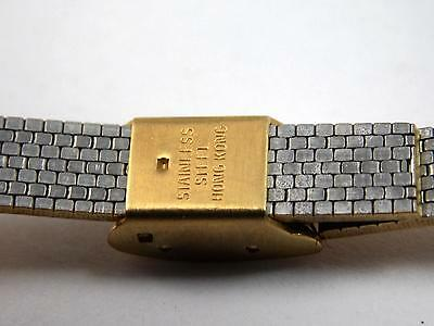 """10mm 3/8"""" Ladies Vintage Watch Band Sliding clasp Gold Tone Stainless Steel NOS"""