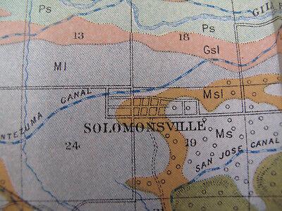 Color Soil Survey Map Solomonville Arizona Safford Thatcher Pima Central 1903 2