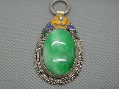 Collectibles Old Decorated Handwork tibet Silver Inlay Jade cloisonne Pendant01 3
