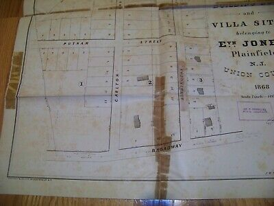 1868 Map Plainfield NJ Evan Jones J. R. Dunham James S. Vosseller Sauerwein 4