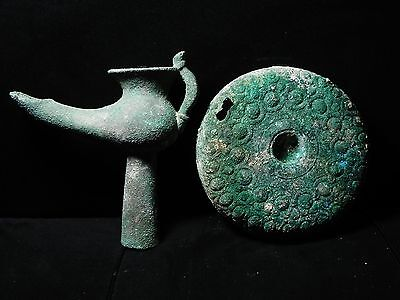 Zurqieh - Beautiful Roman Bronze Oil Lamp With Plate, 100 - 200 A.d 7