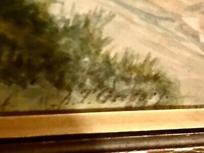19th Century Framed Watercolor Pastoral Landscape Painting, Signed A.G.Gregory 3