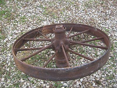 """2 pcs Vintage Rustic Iron Farm Implement Wheel Farm decor 31"""" diameter 4"""" thick 3"""