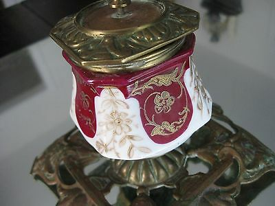 Rare Antique 1800'S  French   Gilt Porcelain  Bronze Ink Well 5