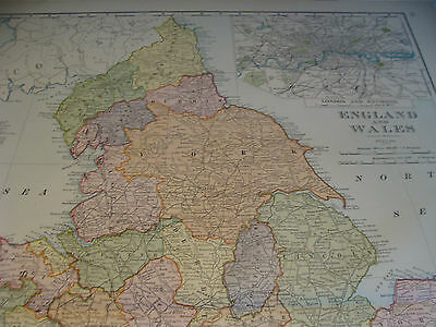 "Vintage Original 1898 Rand McNally Map: ENGLAND & WALES aprox 28 x 22"" VERY NICE 5"