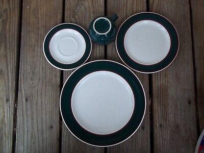 Nancy Calhoun Fusions Evergreen Raspberry Set Dinner Salad Plate Coffee Cup 4 PC 3