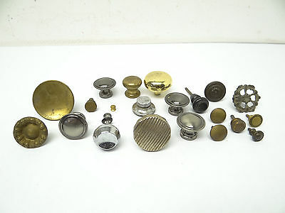 Antique & Vintage Used Old Mystery Metal Brass Drawer Pulls Hardware Round Knobs 2