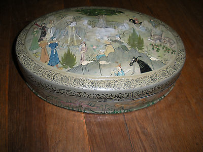 Antique Asian Hand Painted Wood Oval Box 10.5 Inch Long International Sale 2