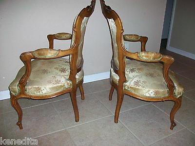 1900 Pair Antique French 2 Chairs Victorian Regency Parlor Fauteuil Louis XVII 4