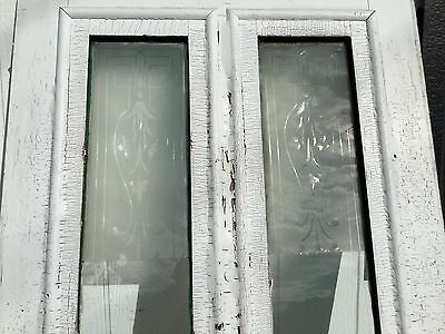 Old Vtg Antique House Entry Chippy Crackle White Paint 2 Glass Pane