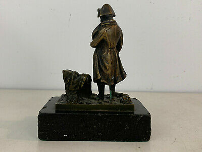 Antiguo 19th Siglo Bronce Napoleon Waterloo Figura / Estatua sobre Pizarra 3