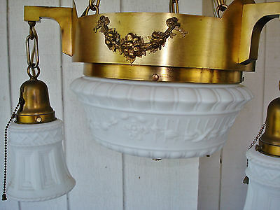 Salvaged Elegant Antique Colonial Revival 4 Bulbs Ceiling Lamp Chandelier 12