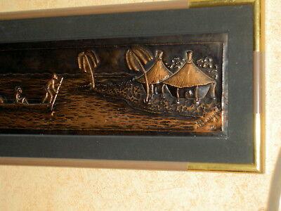 AFRICA/ART  ZAIRE    PIROGUE s/FLEUVE   panneau CUIVRE    CADRE & P.P   85x30 cm 5