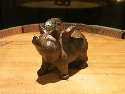 """Miniature Cast Iron Rustic Flying Pig, 2.5"""" Tall, 3.5"""" Long, primitive"""