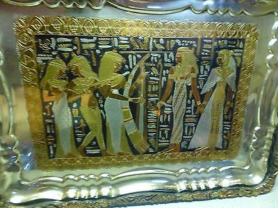 Antique Egyptian Storyline Ornately Engraved Silver, Brass, Copper, Pewter Tray 9