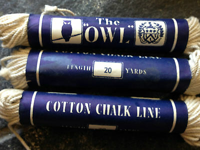 Vintage The Owl Cotton Chalk Lines Old Shop Stock 3 20 Yard Builders Chalk Lines 5