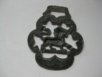 vintage brass medallion horse saddle bridle ornament harness lion England  N 3