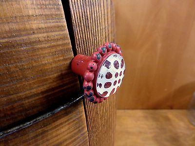 8 RED SUN FLOWER GLASS DRAWER CABINET PULLS KNOBS VINTAGE chic garden hardware 5