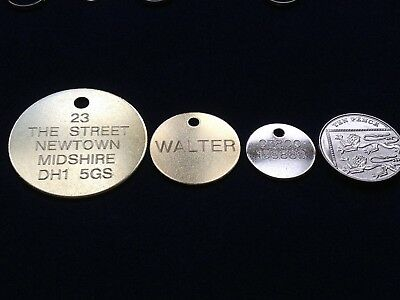 Engraved Dog Tag Personalised Round Bone Id Name Disc Large Small Pet Cat Tags 3