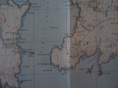 "Ordnance Survey 2.5"" Map SM72 St Davids 1958 Tre-tio Ramsey Island, bit. 3"