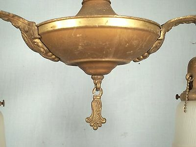 ANTIQUE 19th CENTURY VICTORIAN ART NOUVEAU DOUBLE ARM CHANDELIER WITH SHADES 3