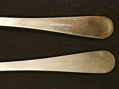 Vintage Set Salad Serving Spoon & Fork Silver Plated Long 9'' ITALY 5