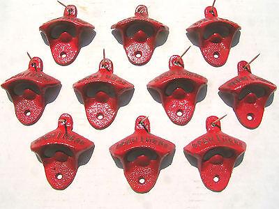 Ten Cast Iron Soda Pop Bottle Openers RED 11