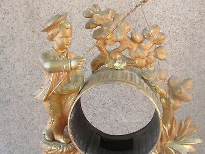 ANTIQUE FRENCH GILDED SPELTER FIGURAL MANTEL CLOCK CASE ONLY-19th c. 3