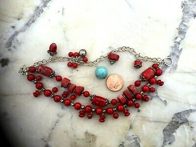 Vintage Chinese Coral And Turquoise 3 Strings Bracelet 2
