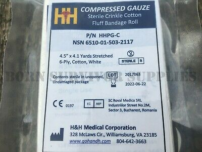 H&H PRIMED COMPRESSED GAUZE ROLL - Trauma First Aid Kit Kerlix Celox Bandage 4