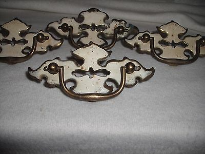 4 Antique White/Gold Colored Handled Metal Cupboard/DresserDrawerCabinet Pulls 3