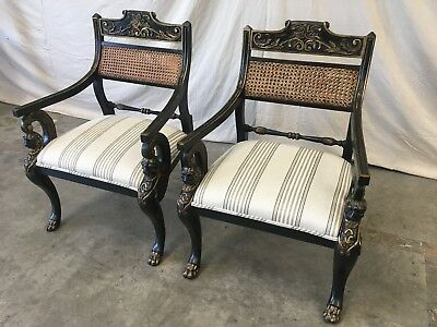 Pair of English Antique Regency Style Cane Back Painted Arm Chairs 7