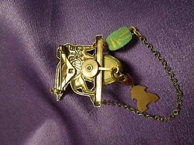 Egyptian Revival Scarab Sphinx W/ Chain Vintage Brooch Pin 7