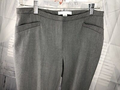 Chico's Womens Dress Pants Flat Front Career Stretch Gray Sz 0 Small 4 2