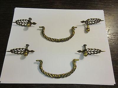 2 Regency Braided Rope Brass Hardware Drawer pull Handles Dresser filegree A 3