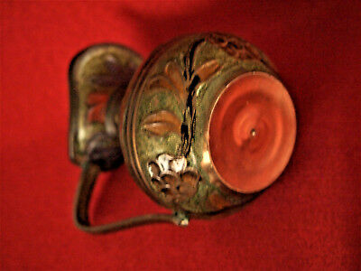 Vtg  Brass Enamel Cloisonne Champleve Small Pitcher Vase 4'' Tall made in India 10