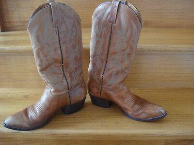 41207499505 MEN'S VINTAGE J. Chisholm Brown Leather Western Cowboy Boot Size 9 D USA  Made