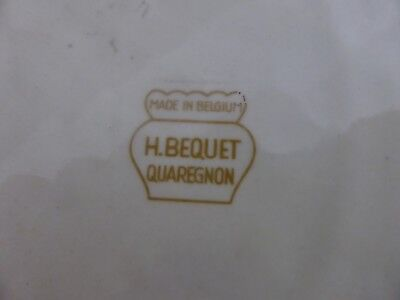 Monumental Plat H. Bequet Decor Raisin Vendanges Quaregnon Belgique Ceramique