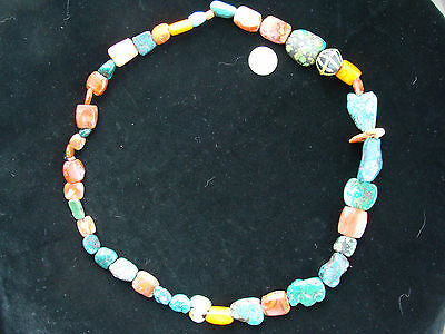 Ancient Mundigak Afghan Banded Carnelian Agate &Tibetian Turquoise Bead Necklace 2