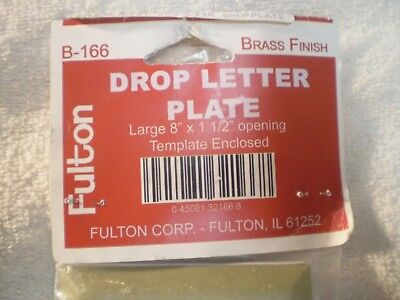 """Fulton Drop Letter Plate Brass Finish B-166 Large 8"""" x 1 1/2"""", Template Enclosed"""