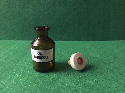alte Apothekerflasche Braunglas OL FOENICULI Kunstoffstopfen Höhe 80 mm 60 Gramm
