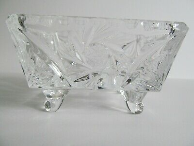 Crystal Glass Bowl Dish 4 inch Square Footed Pinwheel Etched Stars Faceted Vtg 5