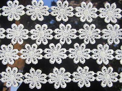 2 METER Borte GPO Blumen Spitze Nichtelastisch Weiß 1,3cm top mode  N