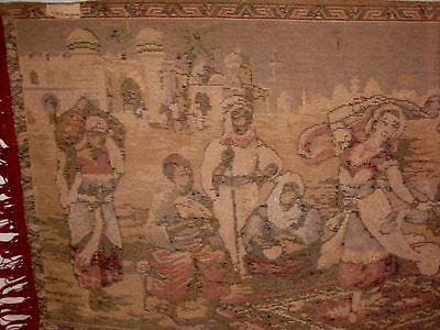 BELGIUM Made, Vintage Rug Wall Hanging Tapestry w Fringe, Woman Dancing SUPERB! 11